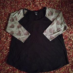 Torrid Heart 3/4 Sleeve Top Size 1X